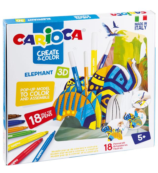 Zestaw do kolorowania Carioca Elephant 3D 18 kol (42902)