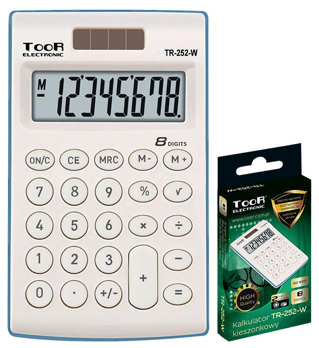 Kalkulator kieszonkowy TOOR TR-252-W 8-pozycyjny - 2 typy zasilania
