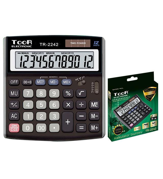Kalkulator biurowy TOOR TR-2242 12-pozycyjny podwójna pamięć