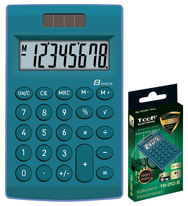 Kalkulator kieszonkowy TOOR TR-252-B 8-pozycyjny - 2 typy zasilania