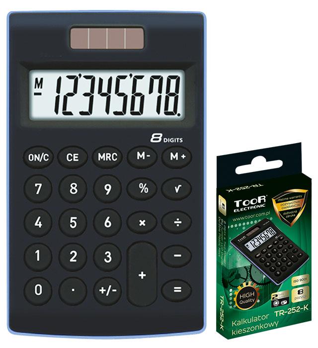 Kalkulator kieszonkowy TOOR TR-252-K 8-pozycyjny - 2 typy zasilania