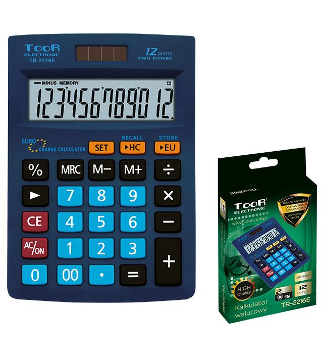 Kalkulator biurowy TOOR TR-2216 - 12 pozycji, walutowy