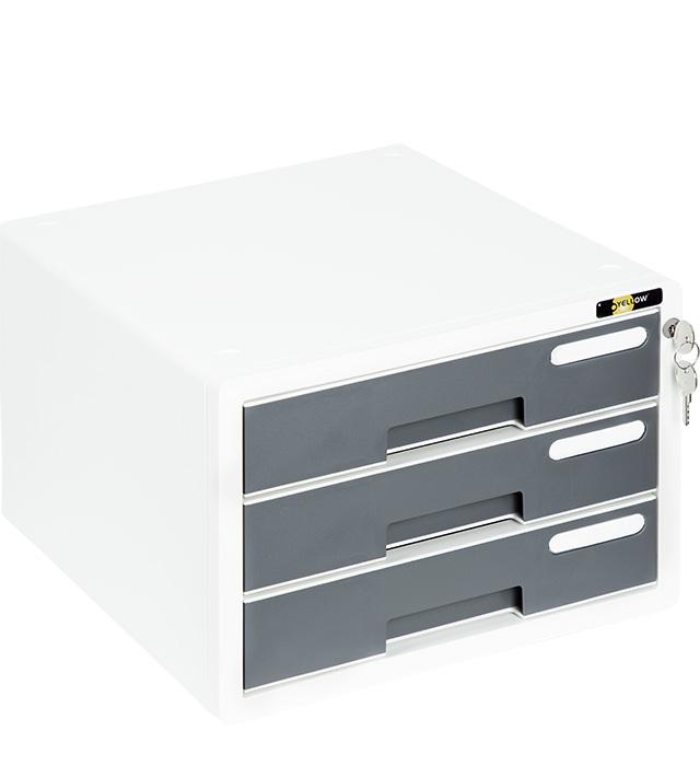 Szafka na dokumenty Yellow One YL-SP03 plastikowa - 3 szufl. + zamek, szary