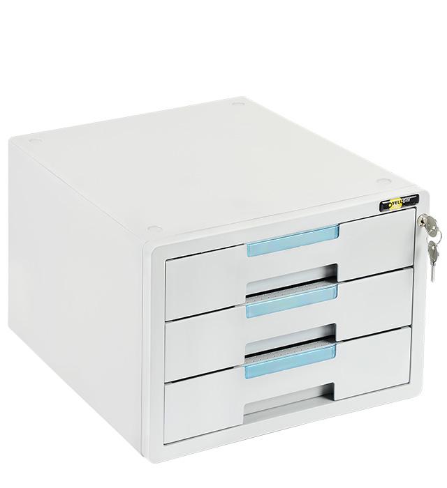 Szafka na dokumenty Yellow One YL-SP03GY plastikowa - 3 szufl. + zamek, szaro-niebieska
