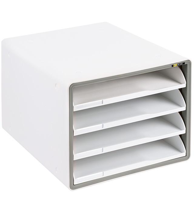 Szafka na dokumenty Yellow One YL-SP04NF plastikowa - 4 szuflady otwarte - szara