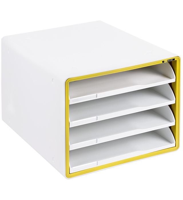 Szafka na dokumenty Yellow One YL-SP04NF plastikowa - 4 szuflady otwarte - żółta