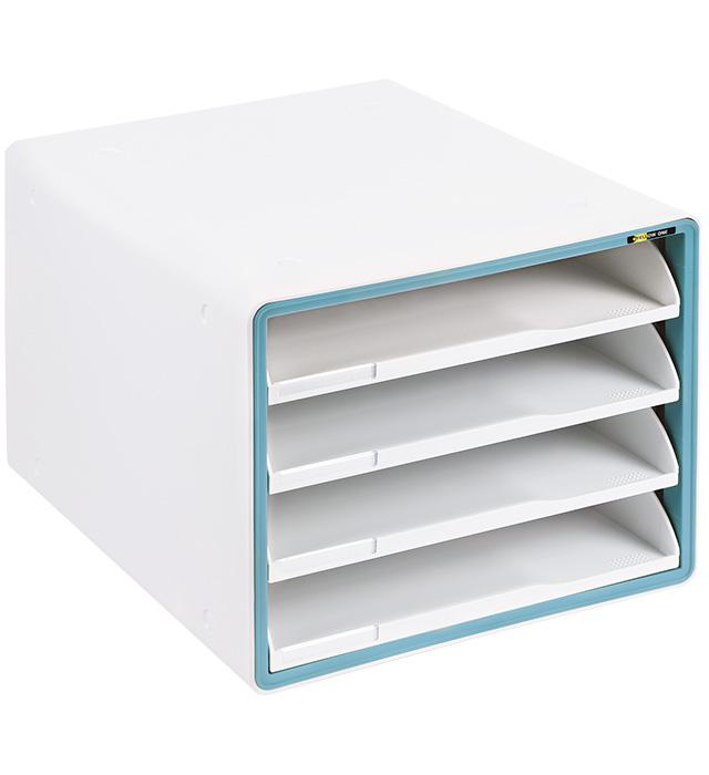 Szafka na dokumenty Yellow One YL-SP04NF plastikowa - 4 szuflady otwarte - niebieska