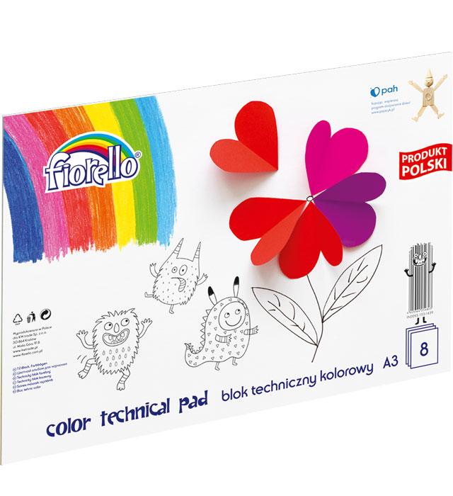 Blok techniczny kolorowy FIORELLO A3/8 kartek