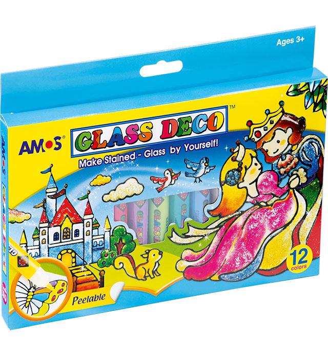 Farby witrażowe AMOS GD10P12R - 10,5ml  x 12 kolorów