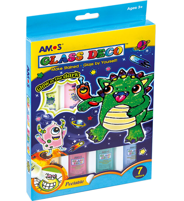 Farby witrażowe AMOS Fluo GD22P07R - 22ml x 7 kolorów