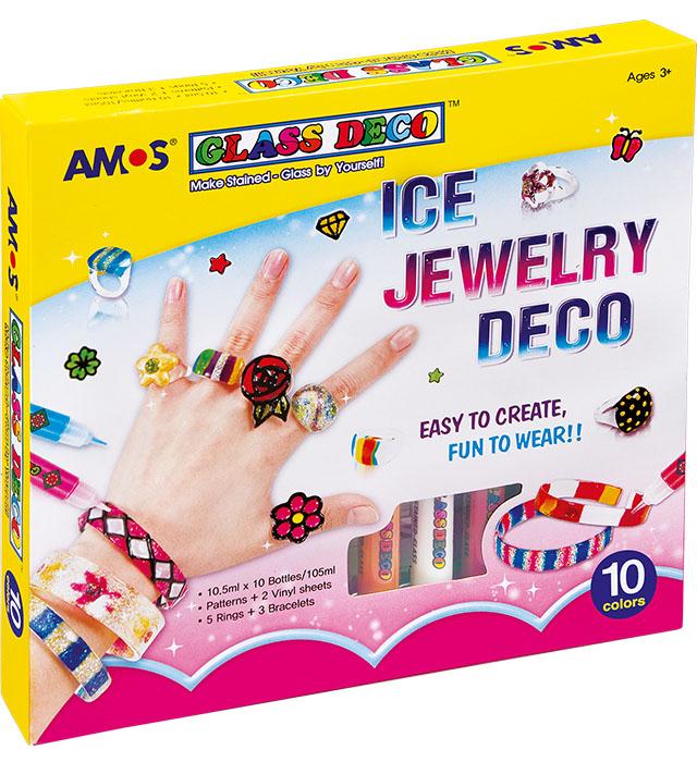 Farby witrażowe AMOS GD10P10 IJ  BIŻUTERIA- 10,5ml x 10 kolorów + akcesoria