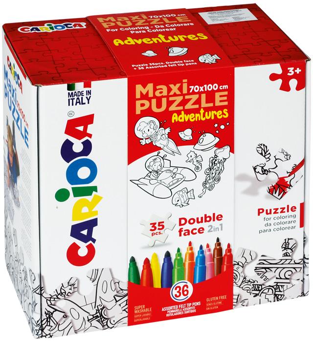 Zestaw puzzli do rysowania Carioca  ADVENTURES  36 kol (42837)