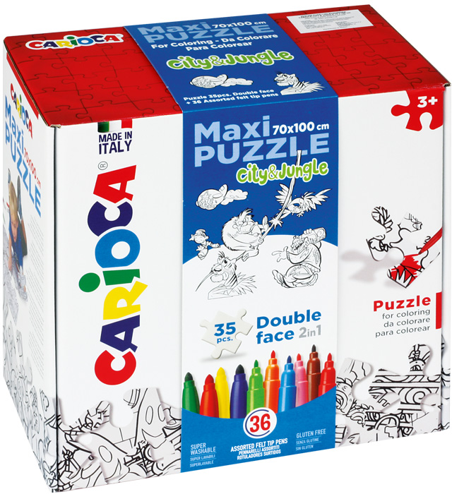Zestaw puzzli do rysowania Carioca  CITY & JUNGLE  36 kol (42861)