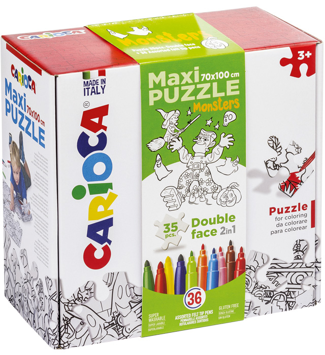 Zestaw puzzli do rysowania Carioca  Monster  36 kol (42839)