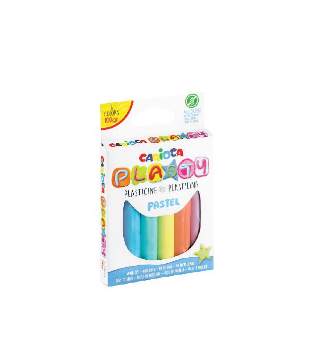 Plastelina 6 kol. 100g pastelowa Carioca PLASTY (42174)